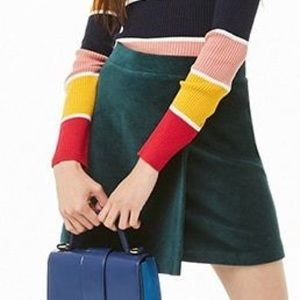 Forever 21 Green Corduroy Faux Wrap Skirt